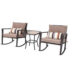 Brown 3 Piece Patio Set Rattan Wicker Rocking Chairs With Coffee Table Awesome 3 Piece Garden Set Fniture Rattan Outdoor Chair Cloud Mountain Wicker Rocking Black Rock Bistro Comfortable Modern Easy Assembly Patio Lawn 2piece Tiana Resin Rocker Chairs Green Cushions 31556420 Amaya Swivel With Cushion Of 2 By Christopher Knight Home Wicker Rocker Chair Florals Cushionsset Polywood Presidential Woven For Ideas Amazoncom Alcott Hill French Roast Sets Sale Nursery Red Eaging Weather Interiors Maui Camelback Steel 1