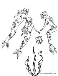 Group Of Lovely Mermaids Swimming Coloring Page