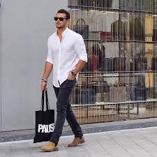 Mens Street Style White Shirt Black Jeans Brown Boots Sunglasses