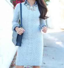 grey cable knit sweater dress and gingham stylish petite