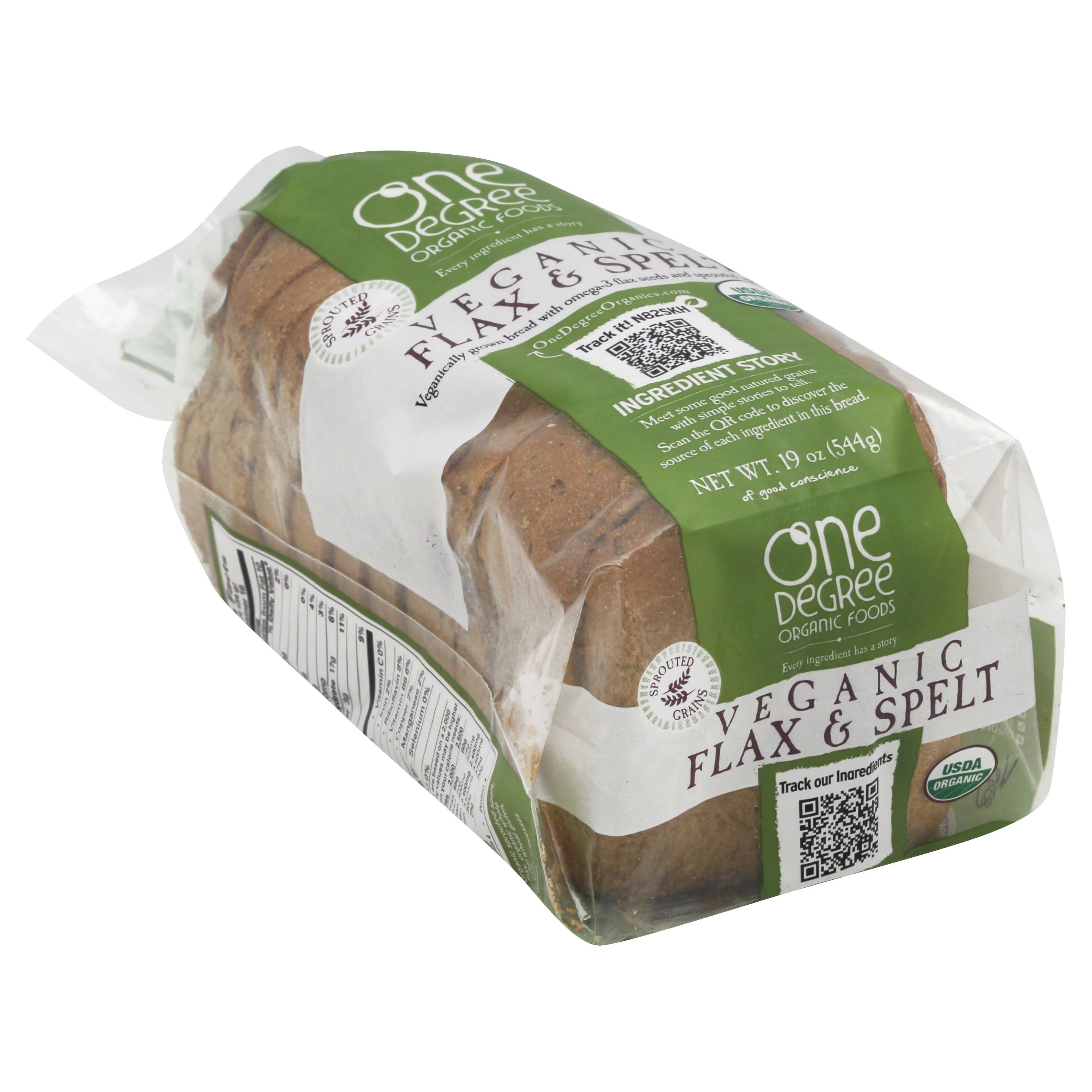 One Degree Organic Foods Veganic Flax and Spelt Bread