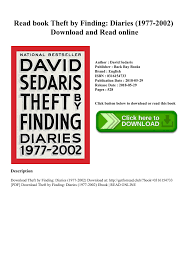 Read Book Theft By Finding Diaries 1977 2002 Download And Online Pages 1