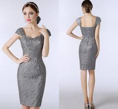 lace silver grey mother of the bride dresses knee length sheath