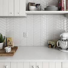 Chevron White Gloss Right Wall Tiles Tileflair