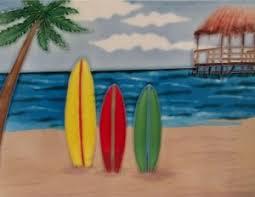 Decorative Surfboard Wall Art by Amazon Com Surfboard Surf Boards Decorative Ceramic Wall Art Tile