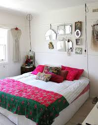 Wire Pendant Lights Bright Accent Pillows And Colorful Bedding Shape The Shabby Chic Bedroom