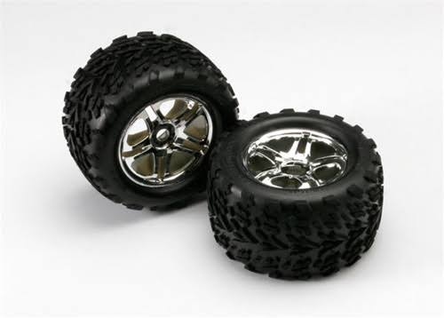 "Traxxas 2 SS Chrome Wheels & 3.8"" Talon Tires, 5174r"