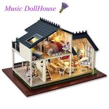 LED Light Miniature Wooden Provence Doll House Mini Dollhouse DIY Kit With Furniture Home Decor