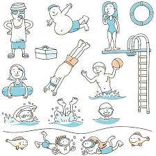 Cartoon Set Of People Swimming For Recreation Illustration