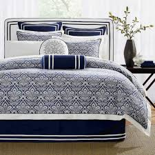 White And Black Bedding by Dark Blue Damask Pattern Comforter Set With White And Blue Border