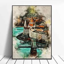 budapest in aquarell leinwand malerei wand kunst bilder drucke wohnkultur wand poster dekoration für wohnzimmer