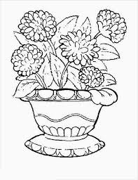 Flower Pot Coloring Page Carnation In Colouring