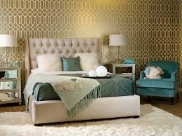 Bedroom In Teal And Gold