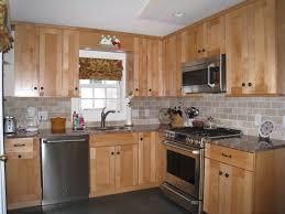 Kitchen Decorating Using Light Brown Stone Tile Backsplash Including Red Solid Oak Wood Cabinet And Backsplashes Mosaic Inch Zinc Jerusalem Video Glass Uk