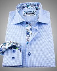 european style shirt blue slim fit dress shirt with unique floral