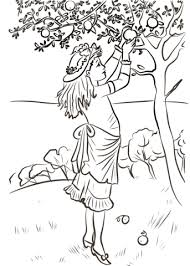 Click To See Printable Version Of Girl Picking Apples Coloring Page