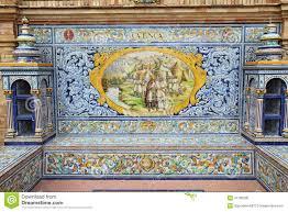ceramic tile mural at plaza de espana in seville spain editorial