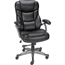 staples osgood bonded leather high back manager s chair black
