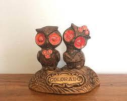 Vintage 70s Owl Salt Pepper Shakers Treasure Craft Kitchen Decor Colorado Souvenier