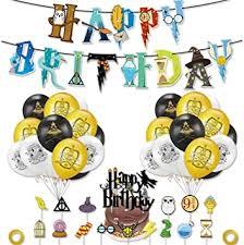 wents zauberer geburtstag deko 39 stück harry potter inspiriert cupcake topper kuchen dekoration ballon happy birthday banner für