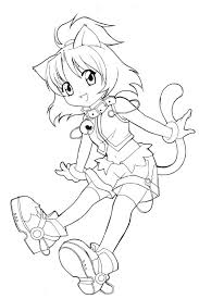 Cat Coloring Pages For Kids Awesome Appealing Chibi Page Wecoloringpage Picture Style Of
