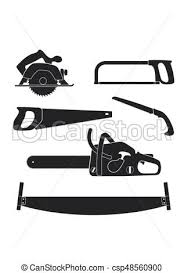 Lumberjack And Woodworking Tools Icons Isolated On White Background Axeman Instruments Saw Set Vector