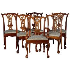 Ribbon Back Dining Chairs Six Baker School Carved Mahogany Style For Sale Room
