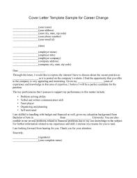 Persuasive Career Change Cover Letter Template Sample Career Change