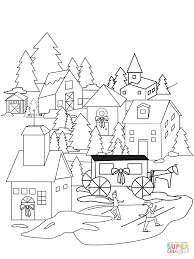 Click The Christmas Village Coloring Pages