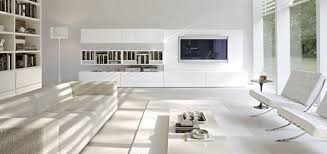 appealing design in modern living room with white tv stand and
