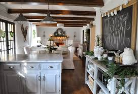 View In Gallery Farmhouse Inspired Greenery Kitchen For Christmas