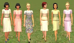 Set 1 Includes Two Simple Shirtwaist Dresses One In Solid Pink And Oatmeal With A Checkered Collar Belt The Third Dress Is Jumper Bubble