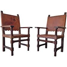 Mexican Spanish Style Venadillo Wood And Leather Chairs C1940s