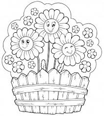 Peaceful Design Flower Coloring Pages For Kids Happy Flowers In A Basket Page Ceramic Children