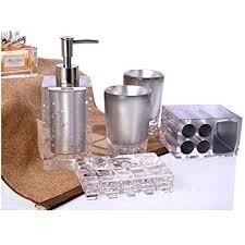 yiyida luxus acryl 5 tlg badezimmer set bad accessoire set wc set grau