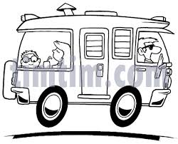 Free Drawing Of A Camper RV BW From The Category Cars Trucks Buses