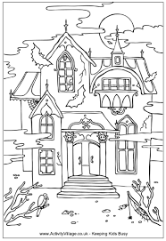 To Print Haunted House Coloring Page 77 For Line Drawings With