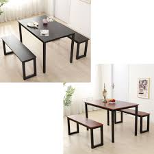 Modern 3 Pieces Set Wood Dining Table With 2 Benches Family ... Steel Ding Room Chairs Kallekoponnet Modern Narrow Table Set Cute With Photo Of 36 Round Natural Laminate With Xbase And 4 Ladder Back Metal Black Vinyl Seat 2 Ding Tables 8 Chairs In Metal Black Retro Design Square Walnut Grid Barstools Amazoncom Shing Wood Laneberg Svenbertil Brown Lucano Marble Leather Mesmerizing Iron Legs Reclaimed Base 5 Piece Kitchen Tag Archived Of Polyurethane Likable Pcs Table