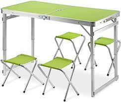 liw 4 stühle klapptisch set 4ft tragbare höhenverstellbar