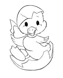 Duckling Just Hatching From Egg Coloring Page