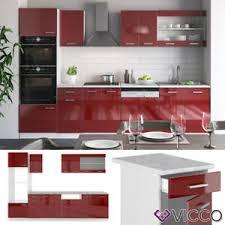 details zu vicco küche r line 300cm küchenzeile küchenblock einbau rot bordeaux hochglanz