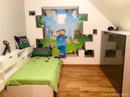 mur chambre ado deco murale à l aerosol chambre ado jeux vidéos minecraft