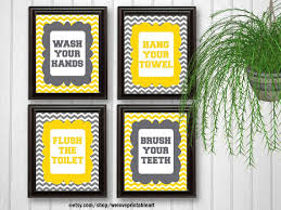 wash your hands sign kids bathroom decor flush the toilet