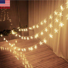 US Warm White LED Indoor Bedroom NewYear Party Decor String Star Fairy Lights