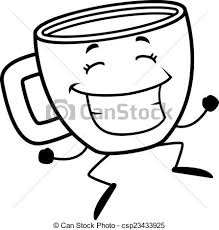 Coffee Cup Jumping A Happy Cartoon Of And Smiling