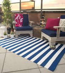 Fab Habitat Nantucket Hand Woven Blue White Indoor Outdoor Area