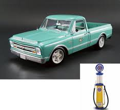 Diecast Car & Gas Pump Package - 1967 Chevy C-10 Holley Speed Shop Pickup  Truck, Light Green - Acme 1807204 - 1/18 Scale Diecast Model Toy Car W/Gas  ... 1967 Chevy C10 Step Side Short Bed Pick Up Truck Pickup Truck Taken At The Retro Speed Shops 4t Flickr Harry W Lmc Life K20 4x4 Ousci Competitor Chris Smiths Custom Cab Rebuilt A 67 With 405hp Zz6 To Celebrate 100 Years Of Chevrolet Pressroom United States Images 6500 Shop Stepside Torq Thrust Iis Over The Top Customs Racing