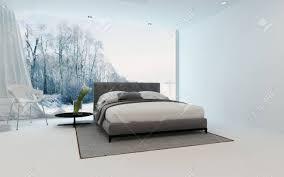 moderne kühle schlafzimmer interieur mit frischen arums und ein doppelbett über einen wintergarten durch ein großes sichtfenster mit blick auf 3d