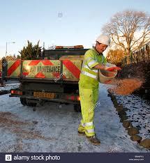 100 Truck Maintenance Council Gritting Roads Pavements Highway Maintenance Stock Photo