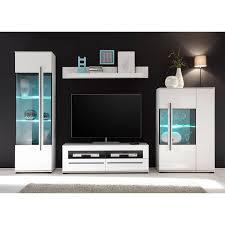 wohnzimmer wohnwand mit glaseinsätzen in grauglas colorado 61 in weiß